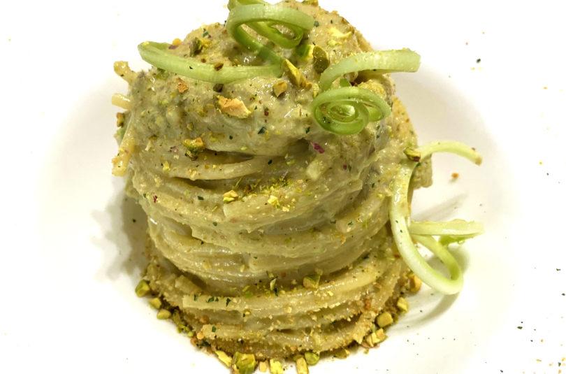 Spaghetti al pesto di puntarelle